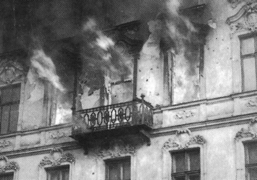 A BUILDING on Muranawski Square in flames.