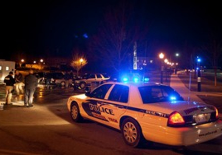 Police at the scene of Virginia Tech shooting