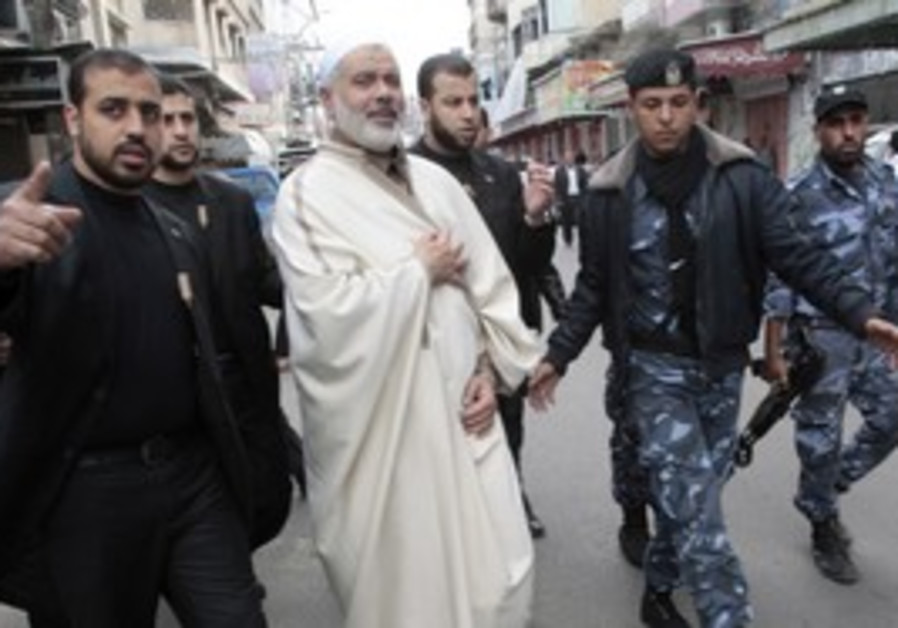 Hamas PM Haniyeh and bodyguards