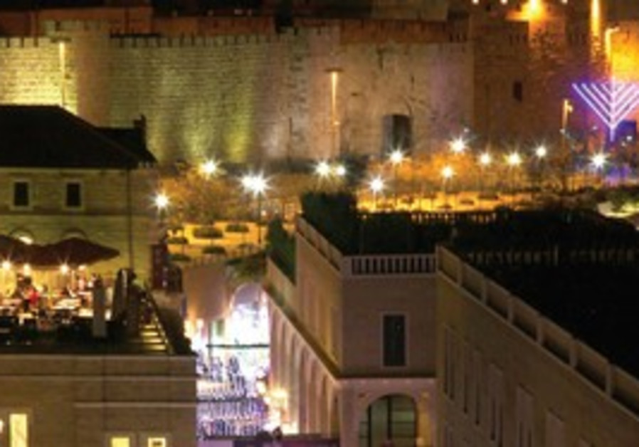 Hanukka decorations adorn Jerusalem