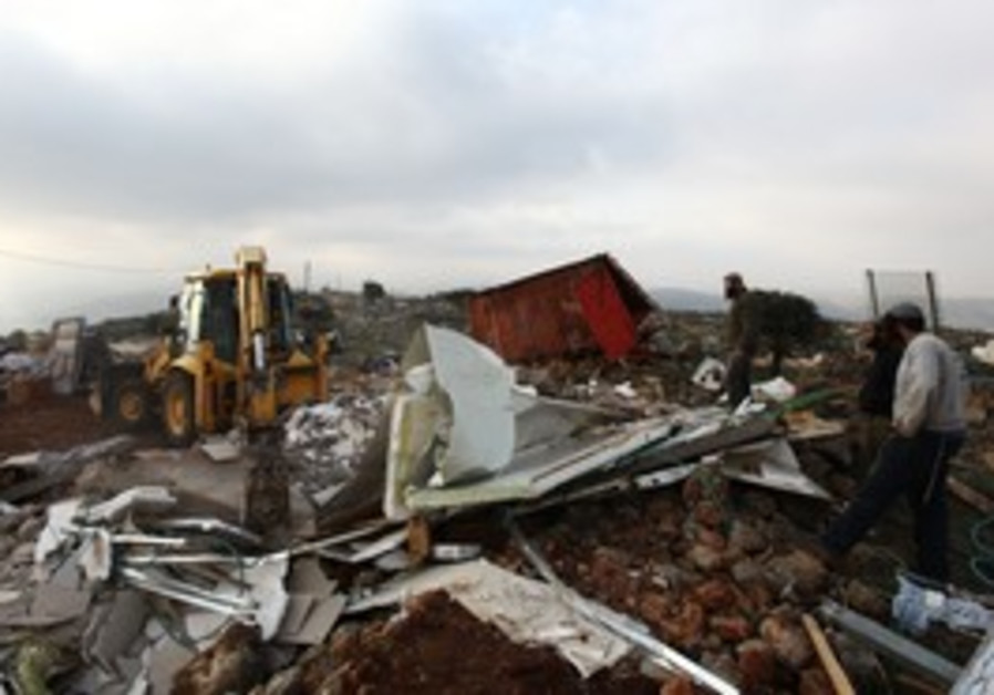 Demolished structures in Mitzpe Yitzhar outpost