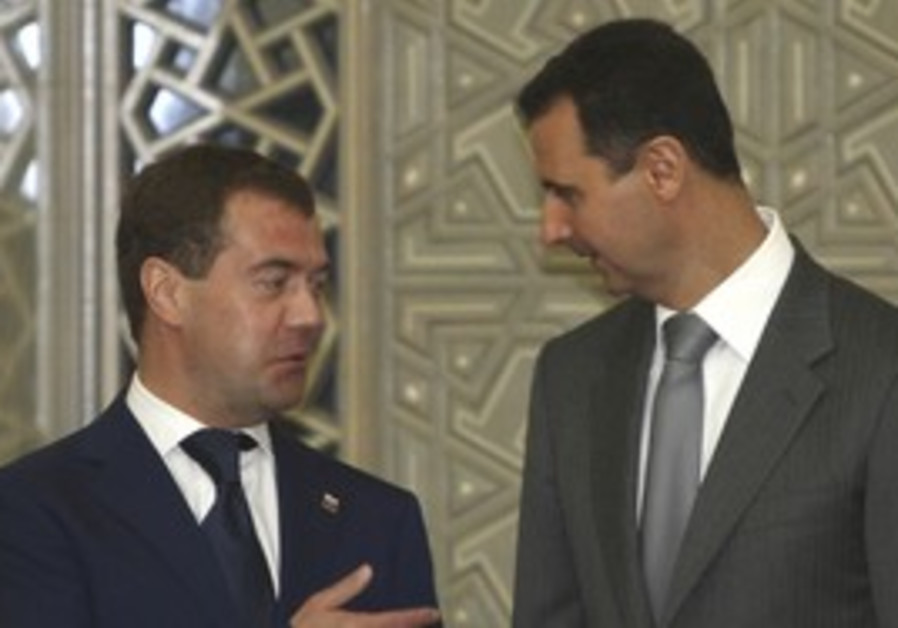 Russian presidident Medvedev with Syria's Assad
