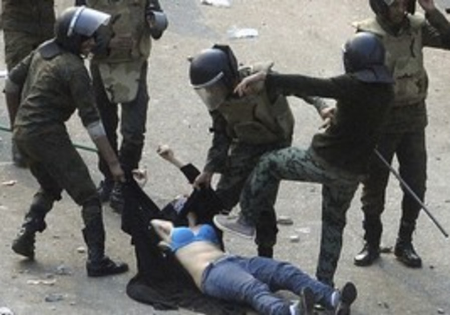 Female protester beaten in Egypt