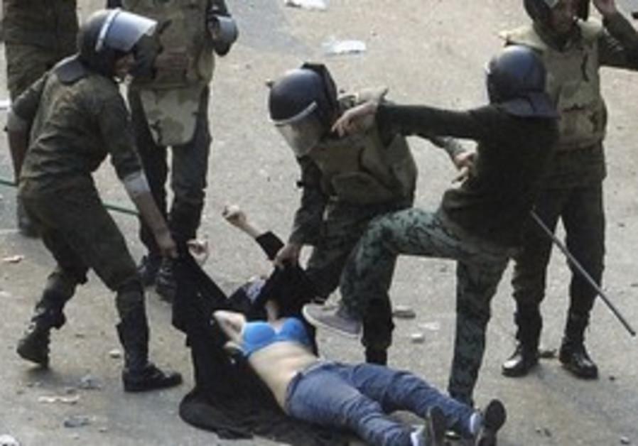 Female protester beaten in Egypt