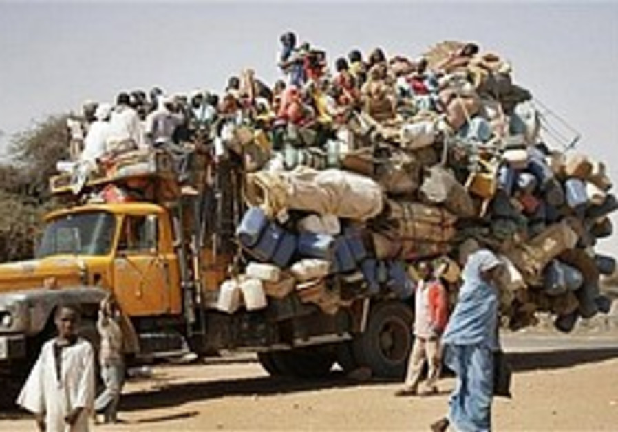 A truck carrying displaced Darfurians in Sudan