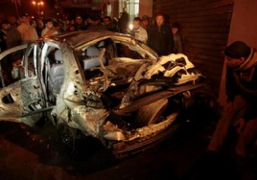 A car in Gaza damaged by an IAF airstrike [file]