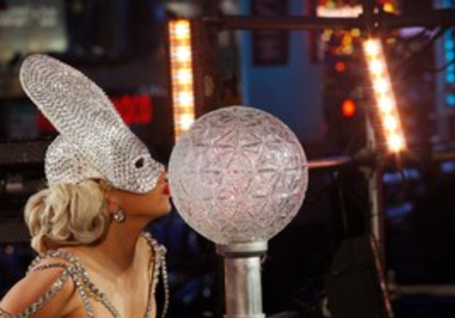 Lady Gaga performs in Times Square to ring in 2012