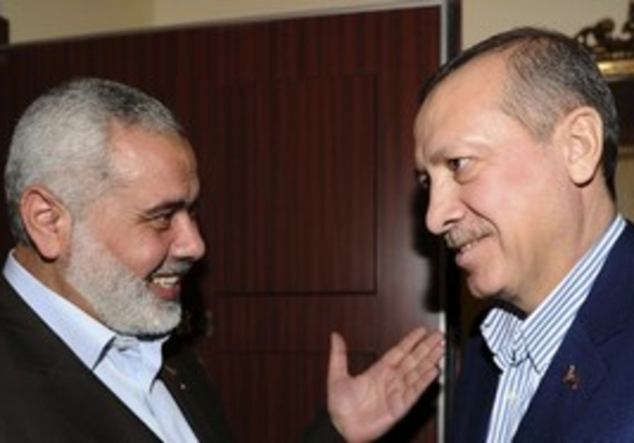 Turkey's Erdogan with Hamas' Ismail Haniyek