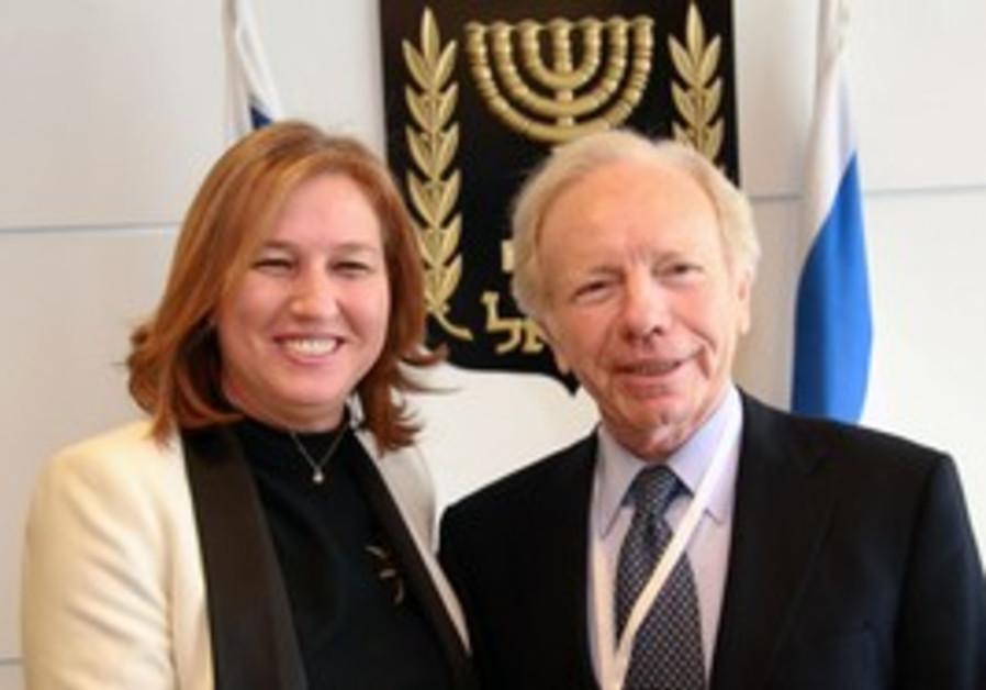 Tzipi livni with US Senator Joe Lieberman