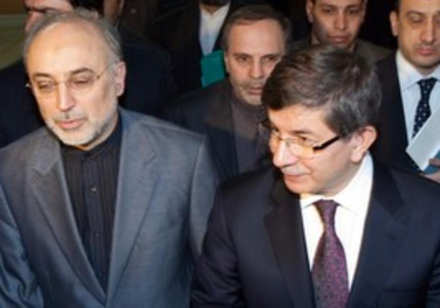 Turkish FM Davutoglu and Iranian FM Salehi