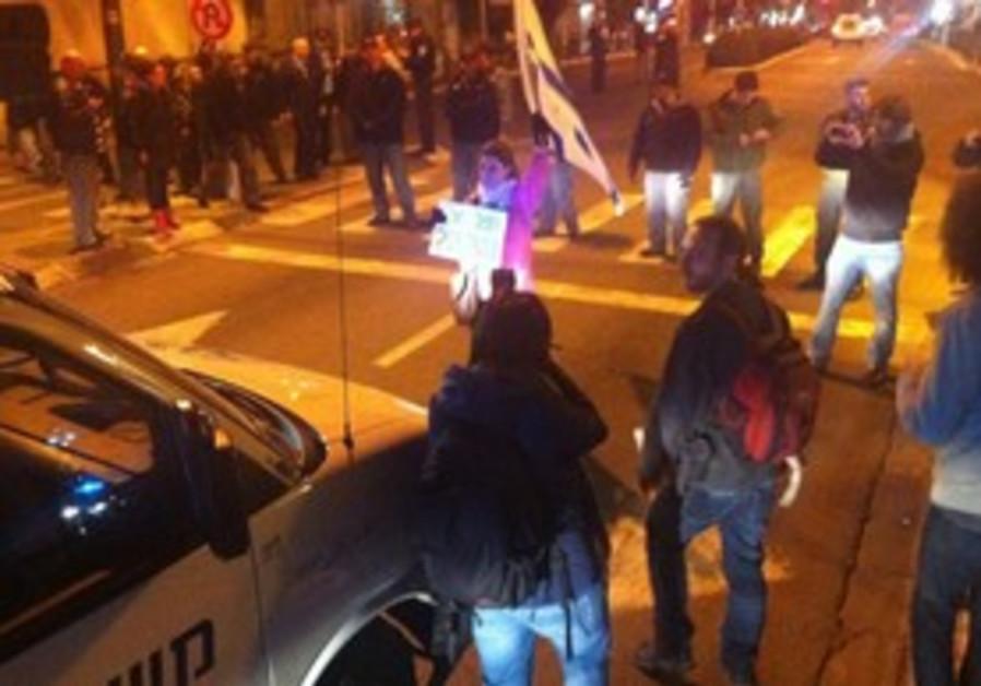 Protesters block street in south Tel Aviv