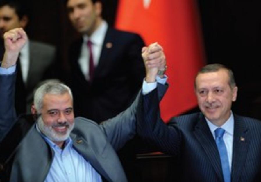 PRIME MINISTER Erdogan and Hamas leader Haniyeh