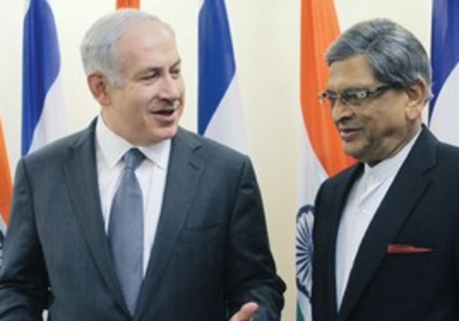 PM Netanyahu and Indian FM S.M. Krishna