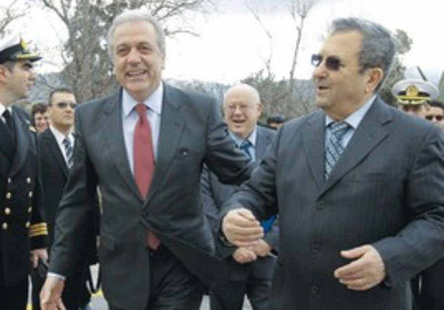 Barak with Greek Defense Minister Avramopoulos