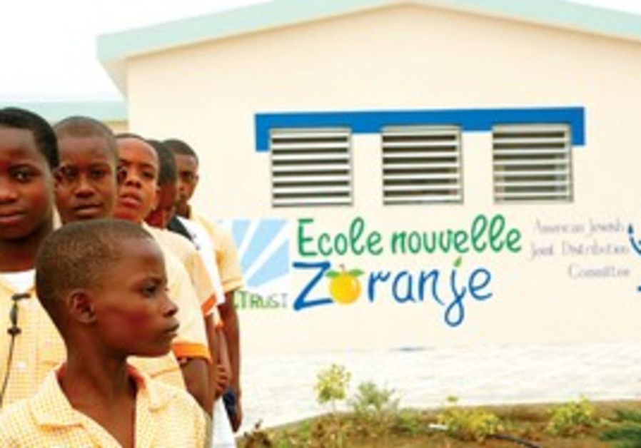 Children outside Zoranje middle school in Haiti