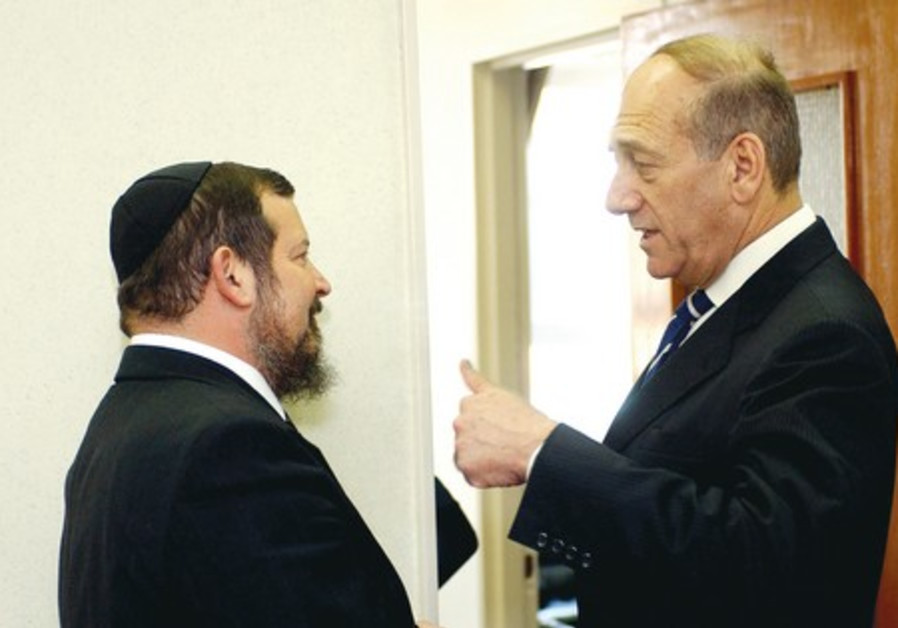 Ehud Olmert (right) and Uri Lupolianski.