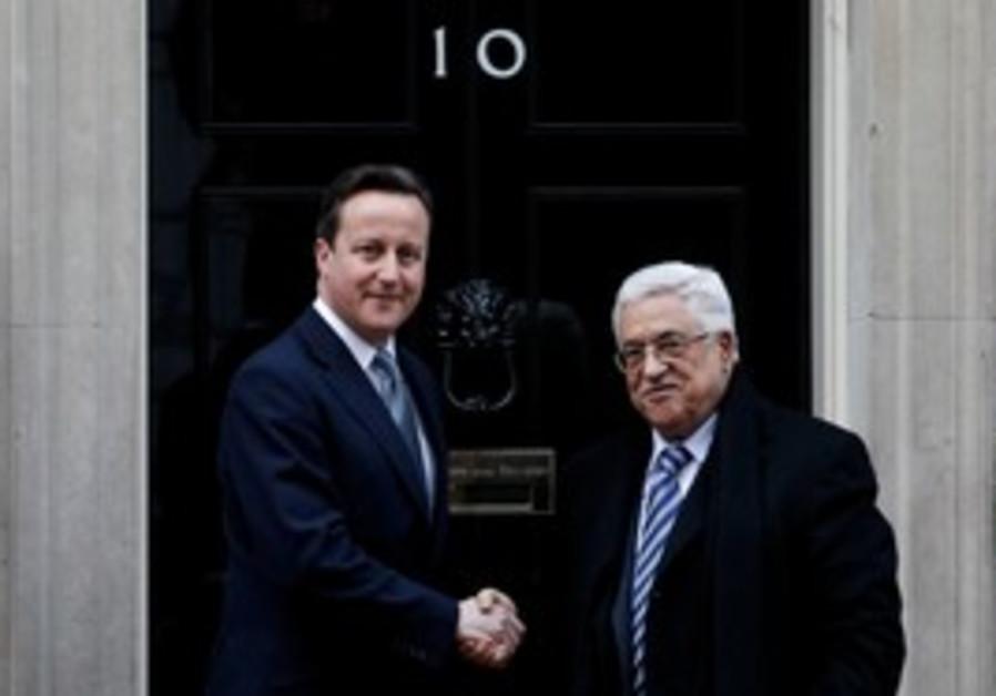 David Cameron with Mahmoud Abbas.