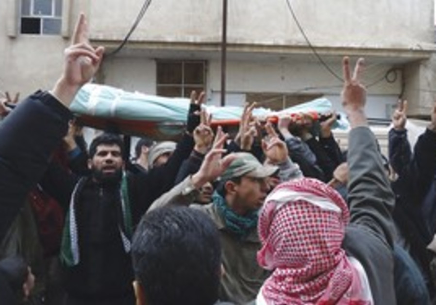 Syrian protestors at a funeral