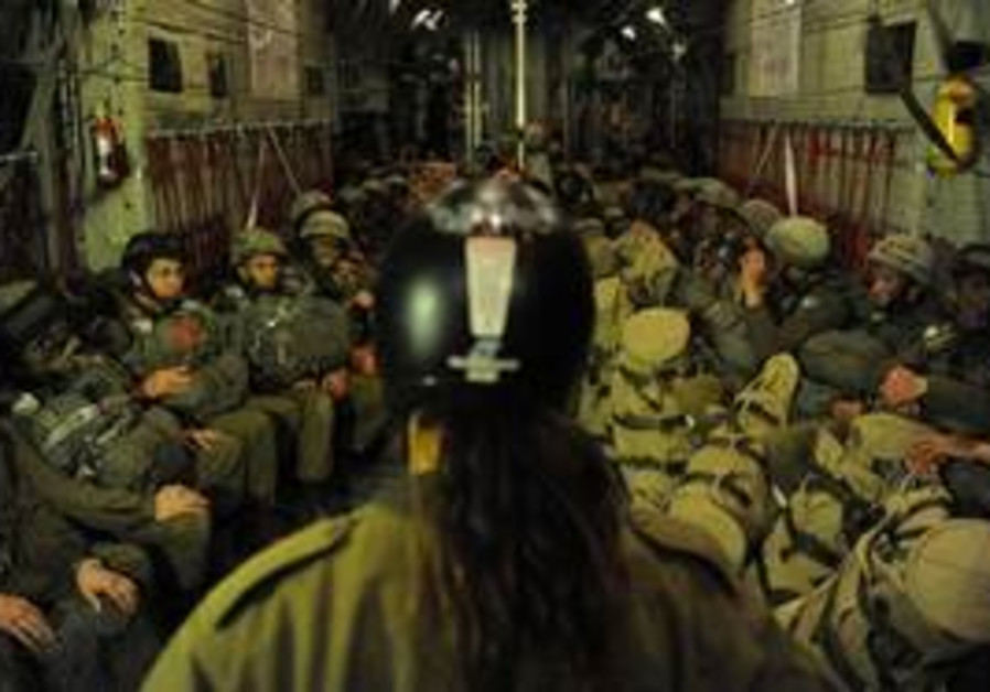 IDF Paratroopers perpare to jump in brigade-level