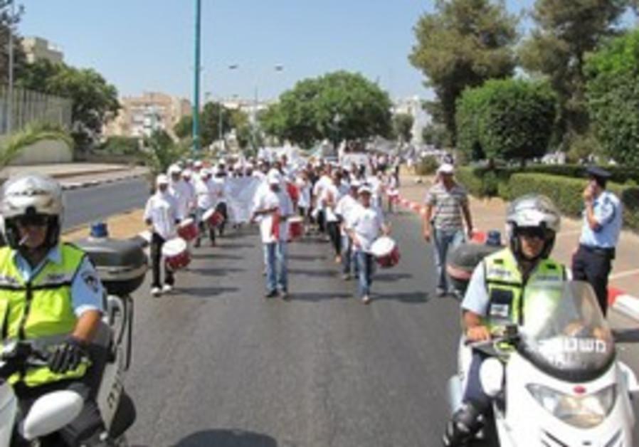 POLICE MOTORCYCLISTS at Lod antiviolence rally.