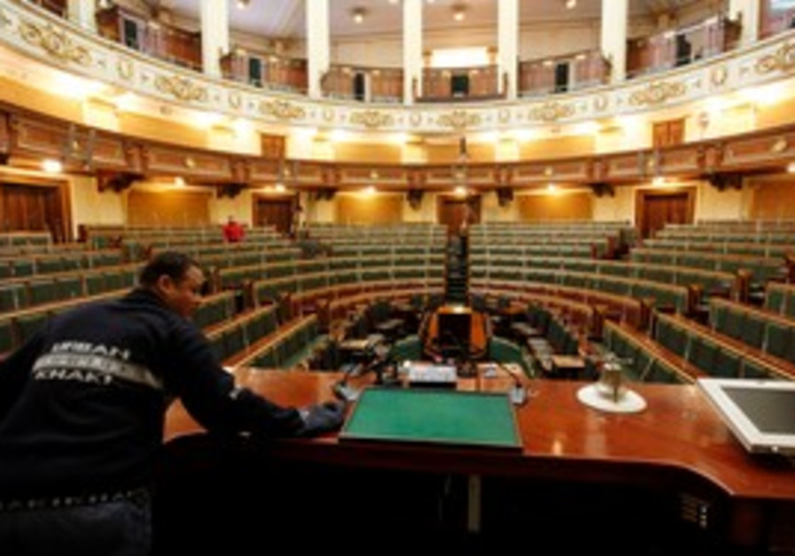 Worker prepares Egypt's parliament in Cairo