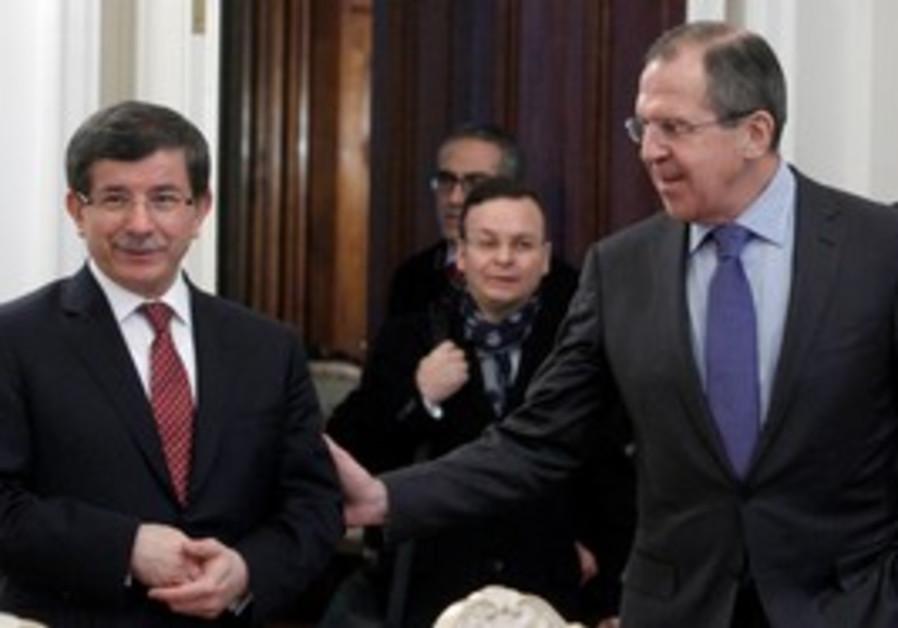 Russian FM Lavrov with Turkish FM Davutoglu