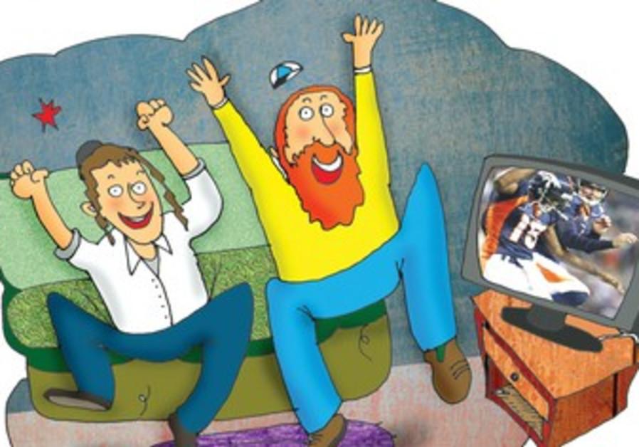 Man and boy cheering [illustrative]