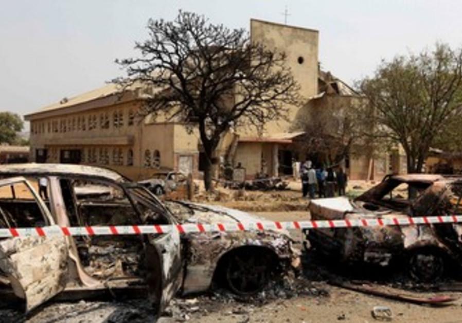 Scene of car bomb at St. Theresa church.