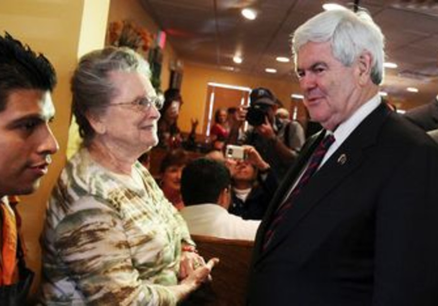 Republican Newt Gingrich greets voters in Florida