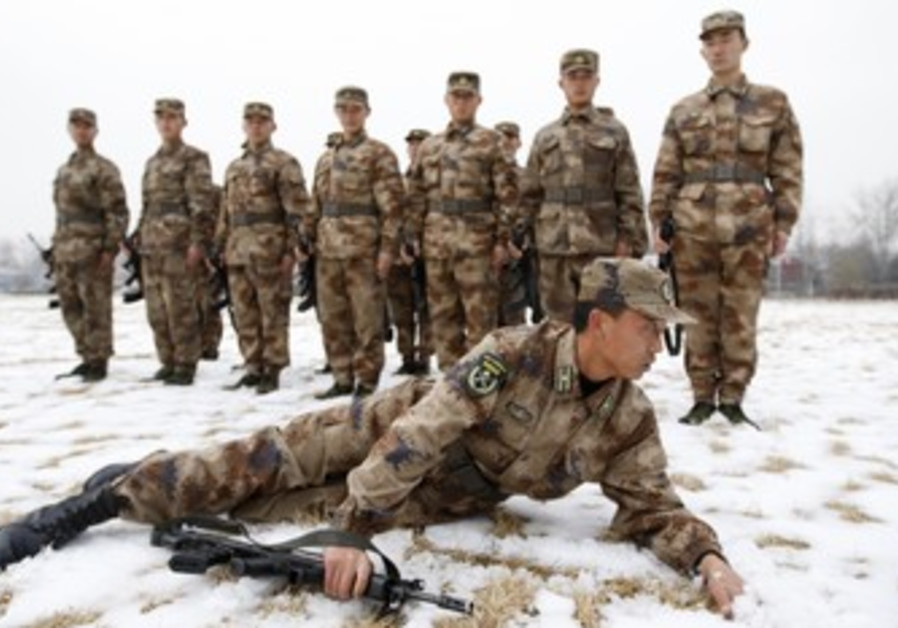 Chinese PLA army soldiers in training