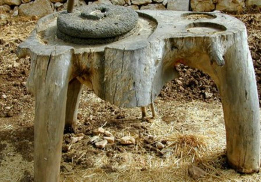 Grinding stone at Neot Kedumim