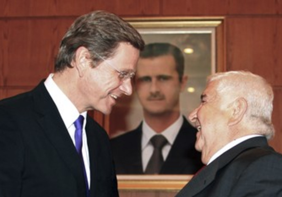 German FM Westerwelle with Syrian FM Moallem