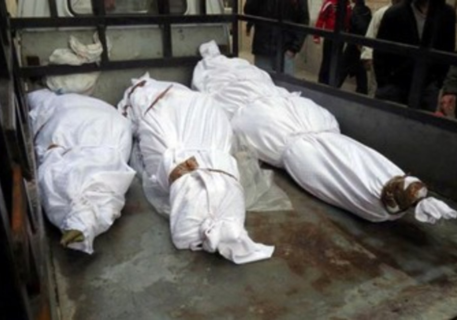 Purported bodies of dead Syrians in Homs