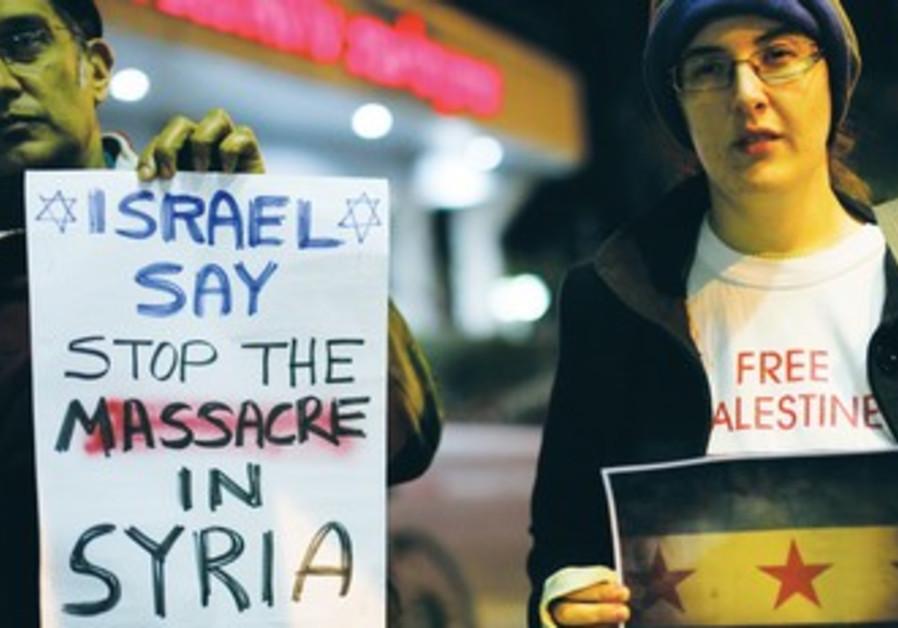 Israelis demonstrate against Assad