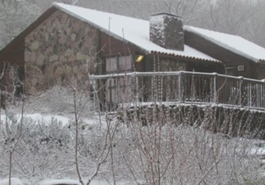 snowy cabin in Golan