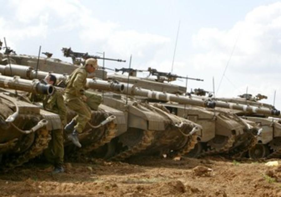 soldier jumps of Merkava tank