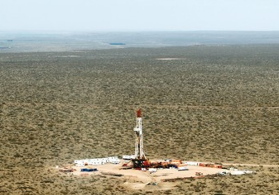 An aerial view of shale oil drilling rig SAI-307