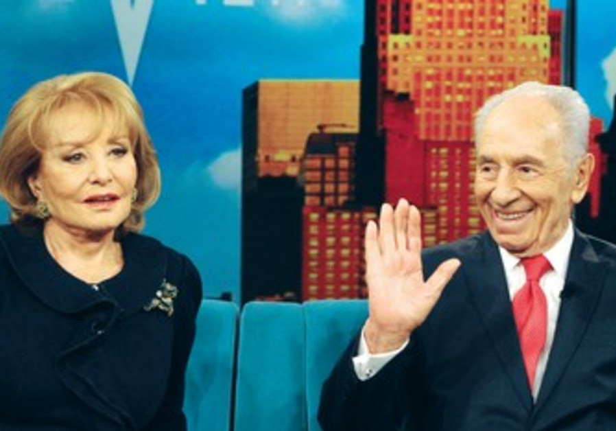 Shimon Peres with Barbara Walters.