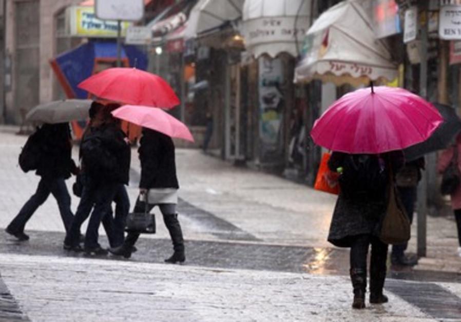 Ben Yehudah street in the rain