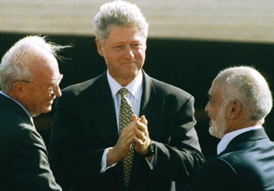 Clinton lauds Hussein, Rabin at peace treaty signi