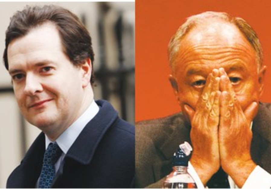 London mayor candidates Livingston (R), Osborne