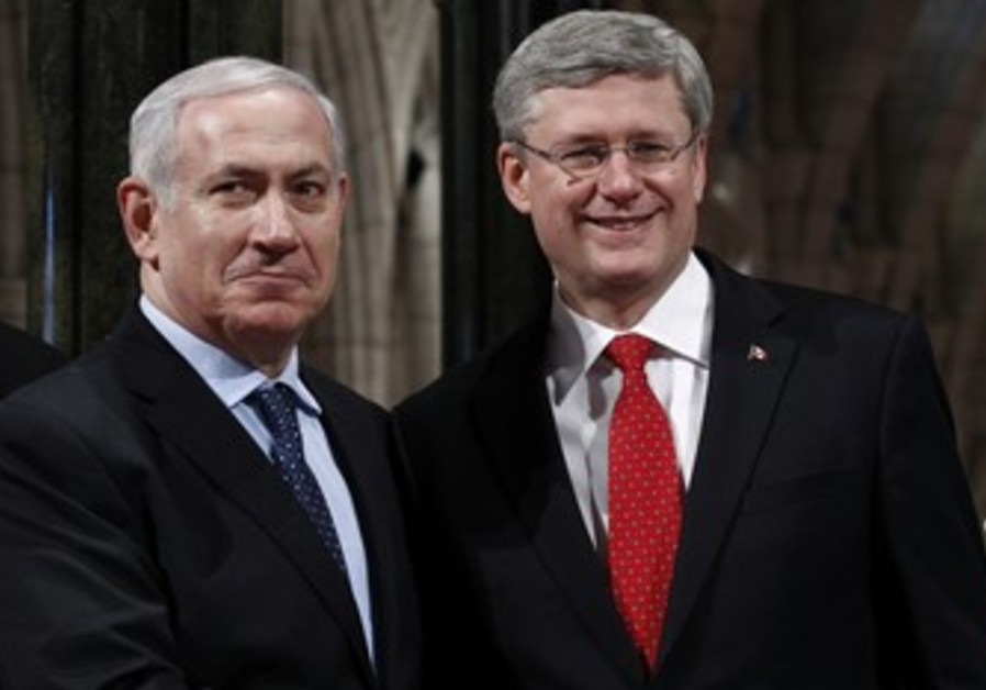Netanyahu shakes hands with Candian counterpart