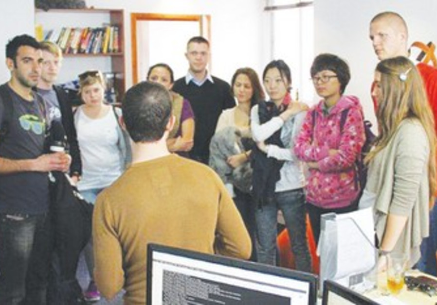 Students visit a Tel Aviv start up