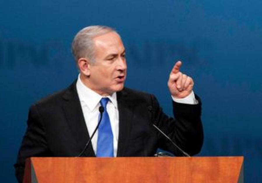 Prime Minister Binyamin Netanyahu speaks to AIPAC