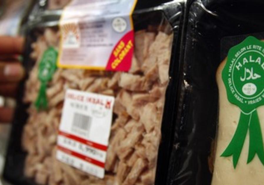 Halal meat is displayed in Paris