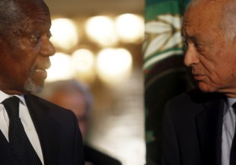 Kofi Annan and Arab League Secretary-General Araby