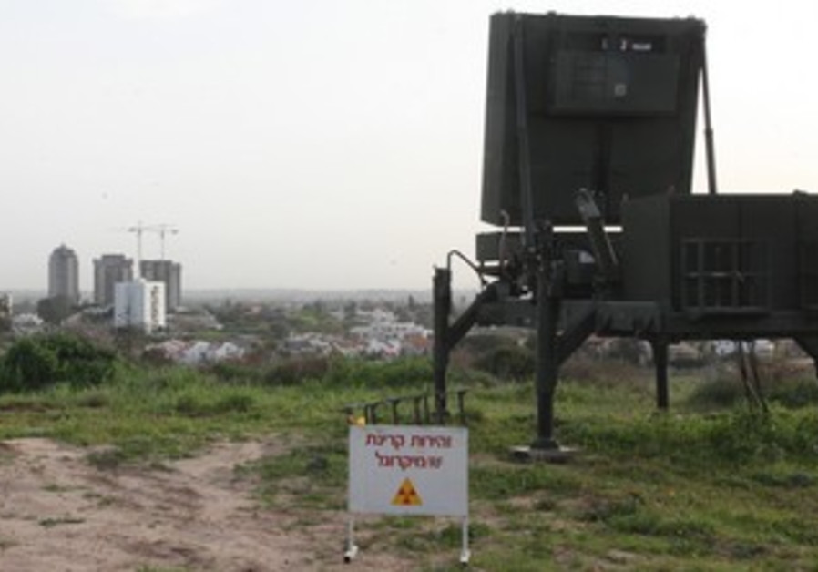 Iron dome battery protects city