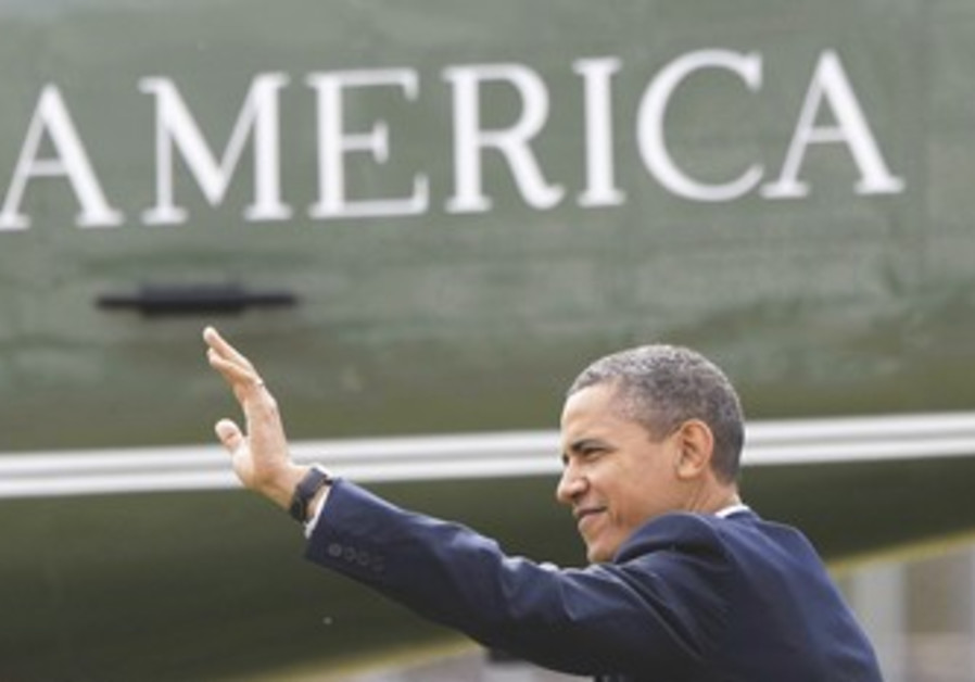 US President Obama waving
