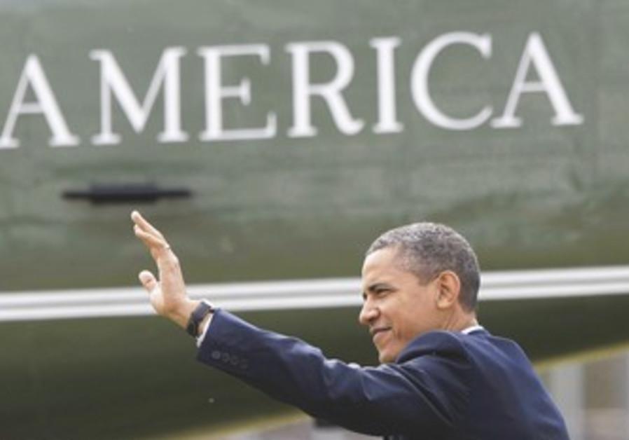 US President Obama waving