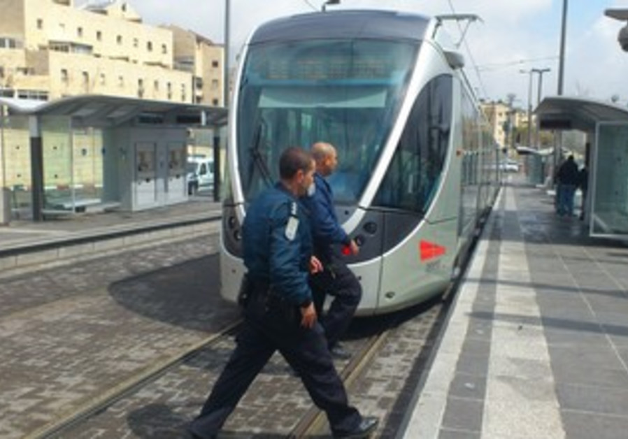 police circle Jerusalem light rail